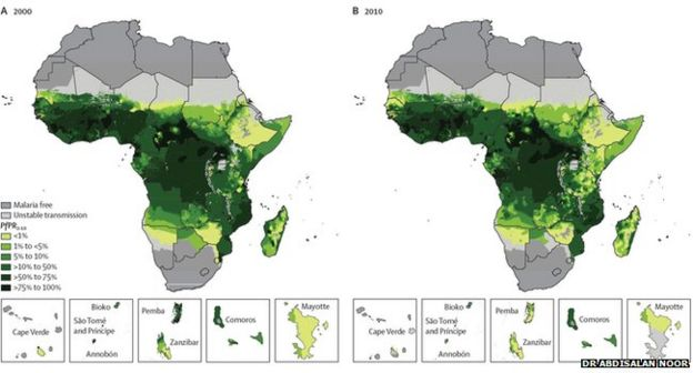 Malaria in Africa Today Africa Malaria Map
