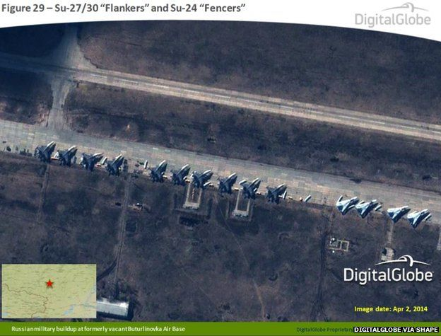 Satellite image taken on 2 April 2014, shows what appears to be Russian Su-27/30 Flankers and Su-24 Fencers at the formerly vacant Buturlinovka Air Base in Russia