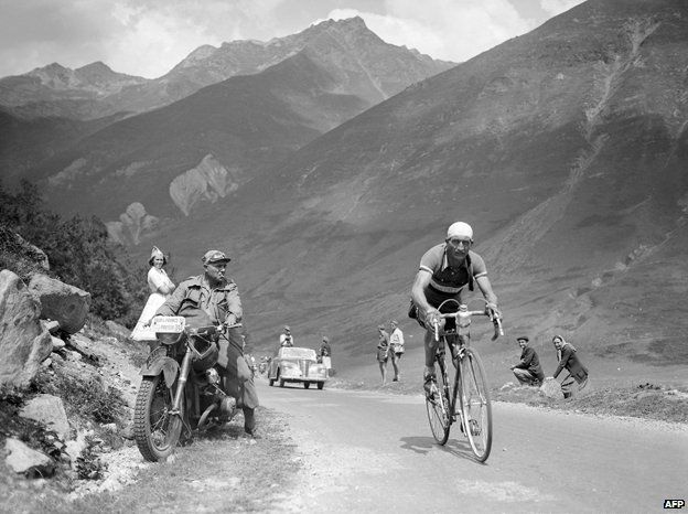 Gino Bartali, during the Tour de France in the late 30s