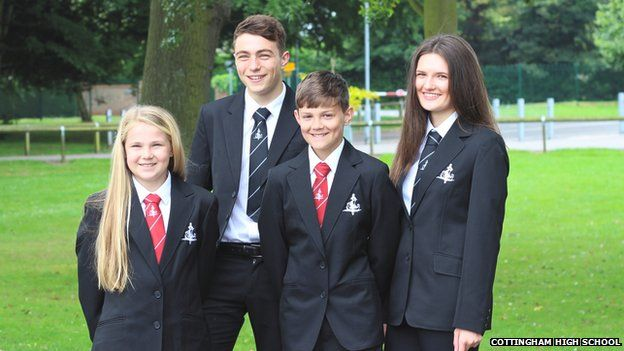 Pupils at Cottingham High School modelling their new designer uniform BBC
