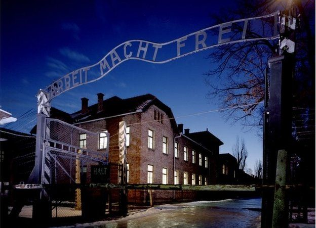 The entrance to Auschwitz concentration camp in Poland