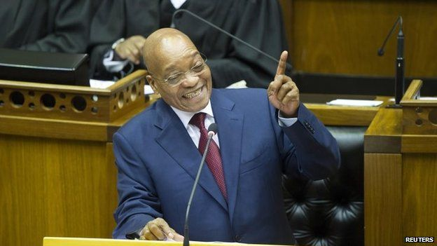 South African President Jacob Zuma speaks during his State of the Nation address at the opening of parliament in Cape Town on 12 February