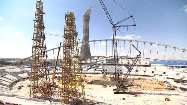 World Cup stadiums under construction in Qatar