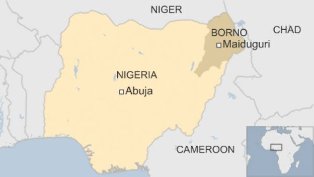 Map of Nigeria showing Maiduguri