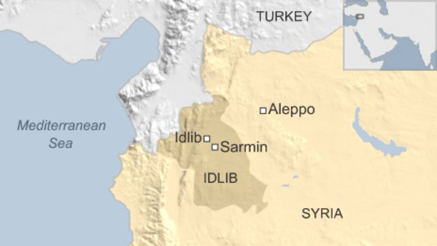 Map showing location of Sarmin, Syria