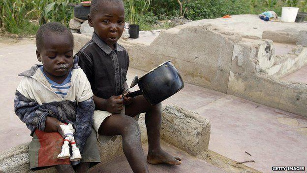 Children at a slum in Zimbabwe