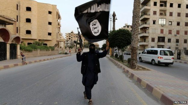 A member loyal to IS waves a flag in Iraq on 29 June 2014.
