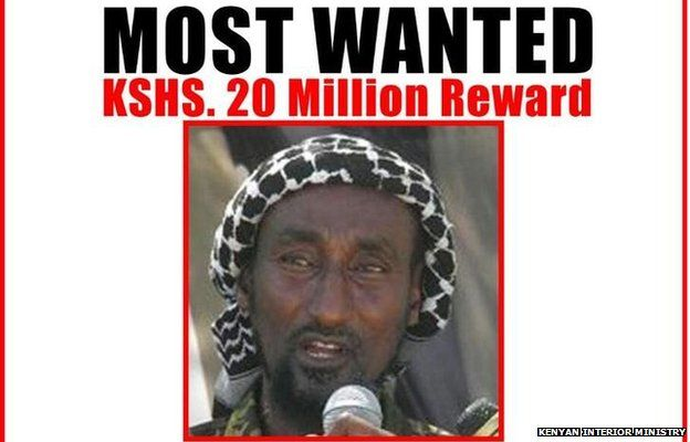 A photo uploaded by the Kenyan interior ministry a most wanted notice for Mohamed Kuno