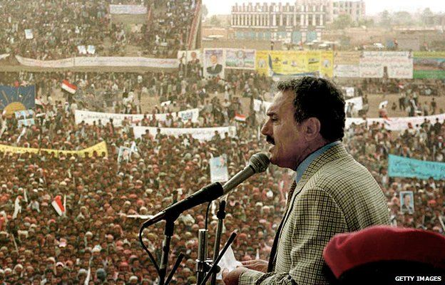 Yemeni President Ali Abdullah Saleh gives a speech during a mass rally in the city of Dhamar, 100km south of the capital Sanaa, 20 September 1999