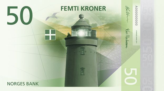 Proposed design of a new Norwegian note showing a lighthouse