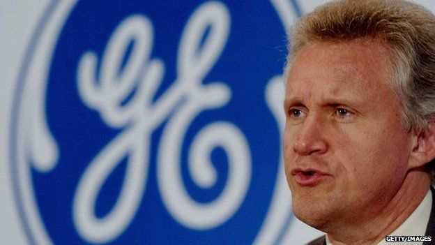 GE Chairman Jeff Immelt in front of GE logo