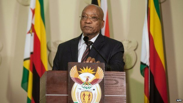 South Africa's President Jacob Zuma delivers a speech along in Pretoria on 8 April , 2015
