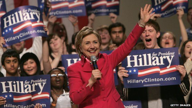 Hillary Clinton campaigns for president in 2008.