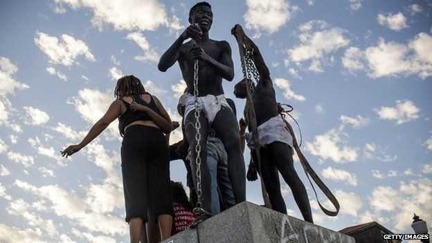 Students at site of Cecil Rhodes statue