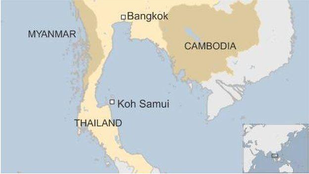 Map showing Koh Samui