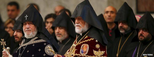 Armenian clergy at the ceremony in St Peter's Rome - 12 April