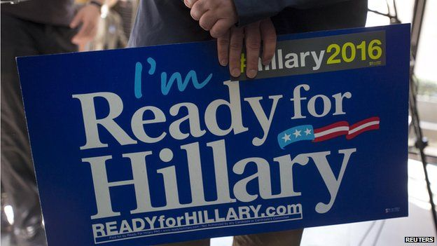 "Clinton supporter with a placard reading, ""I'm ready for Hillary"" - New York, 11 April"