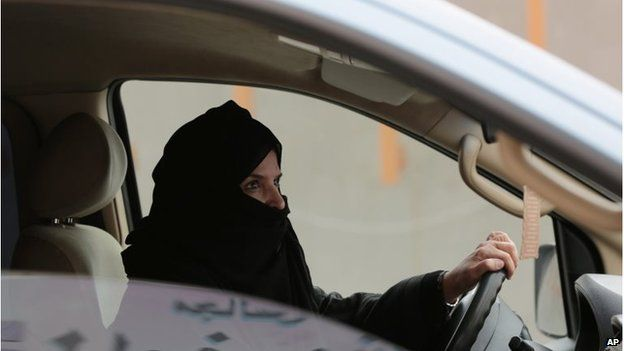 Aziza al Yousef driving a car in Riyadh (March 2014)