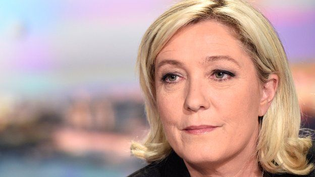 Marine Le Pen is pictured prior to speaking on French TV channel TF1 on 9 April 2015