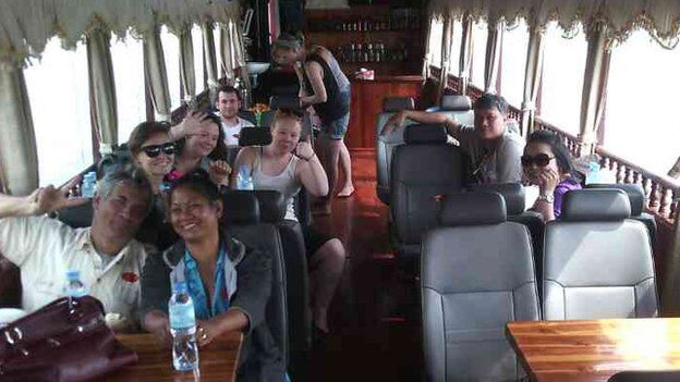 This picture, taken on the boat the day before the accident, shows Johanna Powell waving