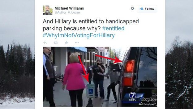 Tweet showing Hillary Clinton and van