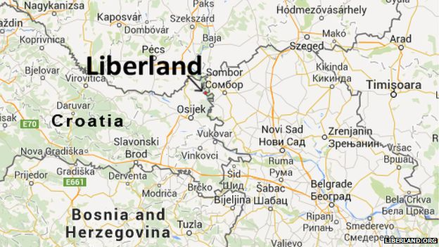 A map showing where Liberland is located