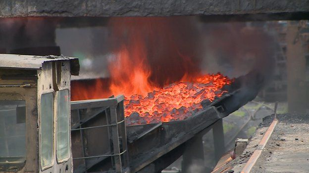 Furnace at coke factory in