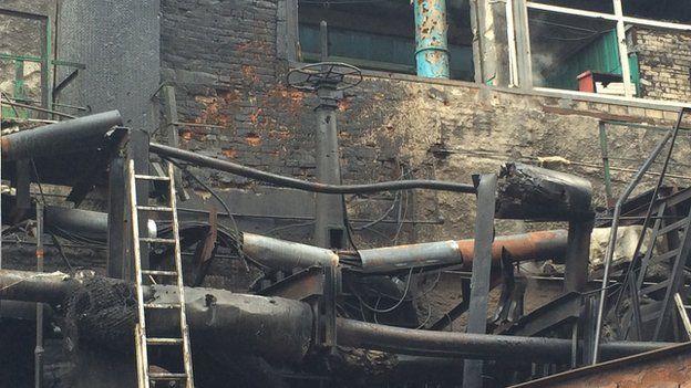 Bomb damaged pipes