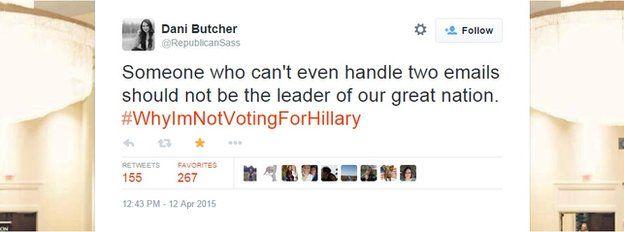 Tweet against hillary clinton