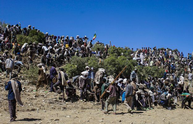 Around 3,000 people answered the call to take part in the terracing work, Abr'ha Weatsbaha, Tigray Province, Ethiopia