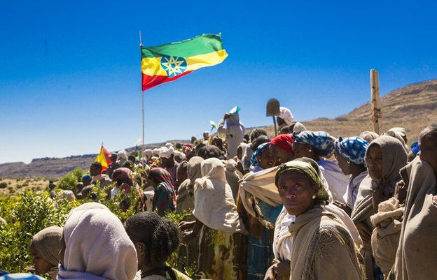 Tigray people take a break from work