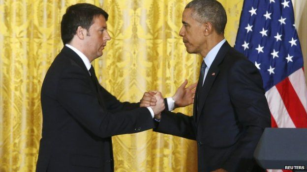 President Barack Obama (R) greets Italian Prime Minister Matteo Renzi after their joint news conference in the East Room of the White House in Washington April 17, 2015