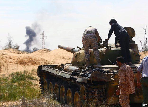 Militia fighting north of Tripoli in Libya, March 2015