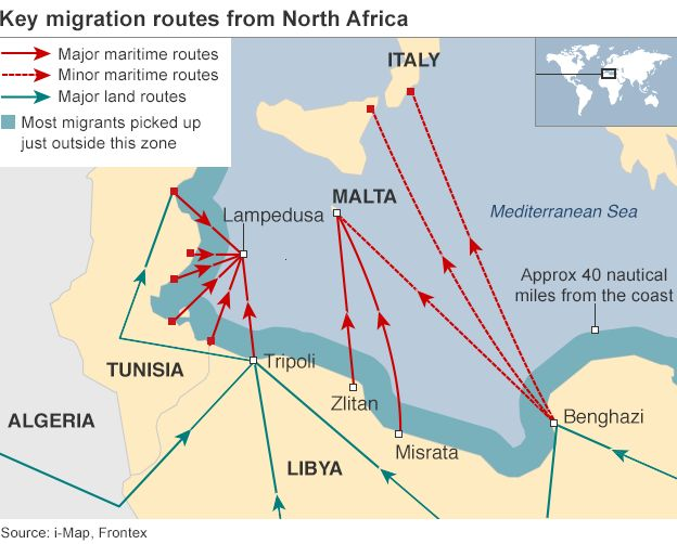 Map showing migration routes from N Africa across the Mediterranean