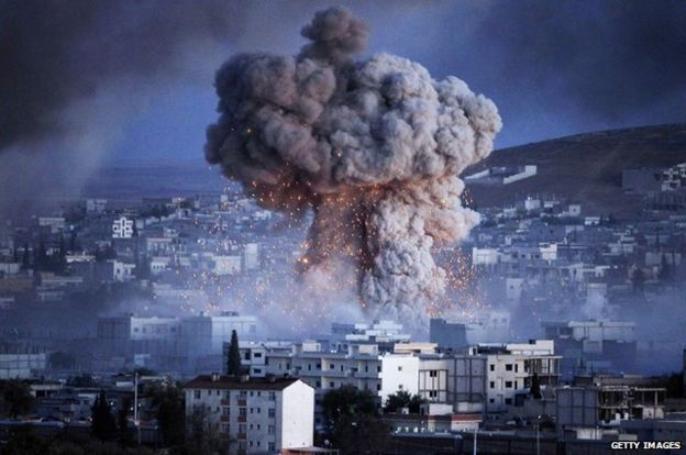 Picture of an explosion over Kobani in Syria from 20 October 2014