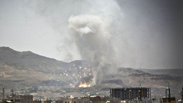 Saudi-led air strike hits site in Yemeni capital, Sanaa. 21 April 2015