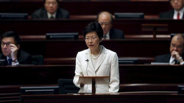 Hong Kong Chief Secretary Carrie Lam makes address on Hong Kong's political reform during a Legislative Council meeting in Hong Kong 22 April, 2015.
