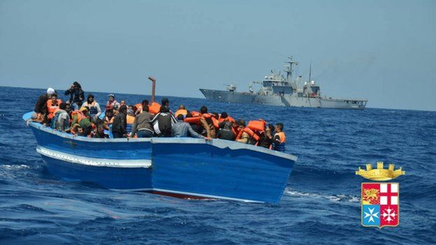 Migrants (mainly from Africa), spotted 100m south of Lampedusa and rescued by Italian units deployed to Operation Mare Nostrum