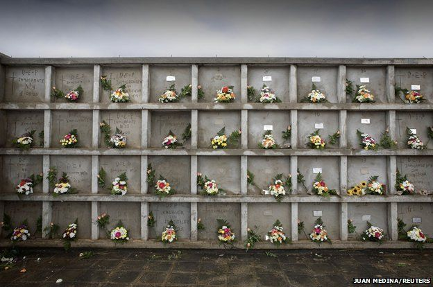 Tombs of would-be immigrants in Fuerteventura, 2006.