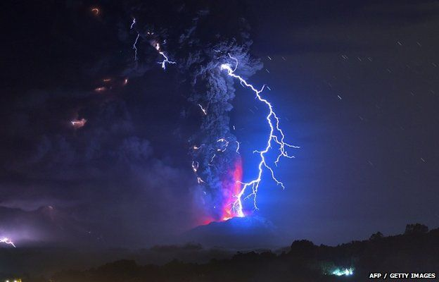 View from Frutillar, southern Chile, of lava spewing from the Calbuco volcano, on 23 April 2015.