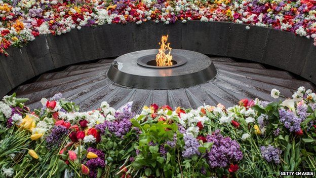 The eternal flame at the Tsitsernakaberd Memorial in Yerevan