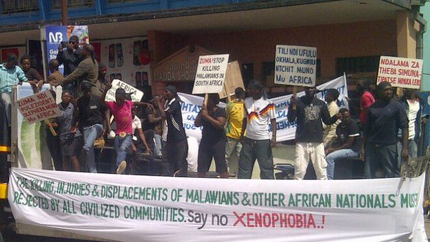 Demonstrators in Blantyre on Friday calling for an end to violence against Malwians in South Africa