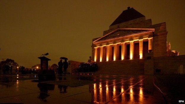 A dawn service is held at the Shrine of Remembrance commemorating the centenary of Anzac Day in Melbourne, Australia (25 April 2015)