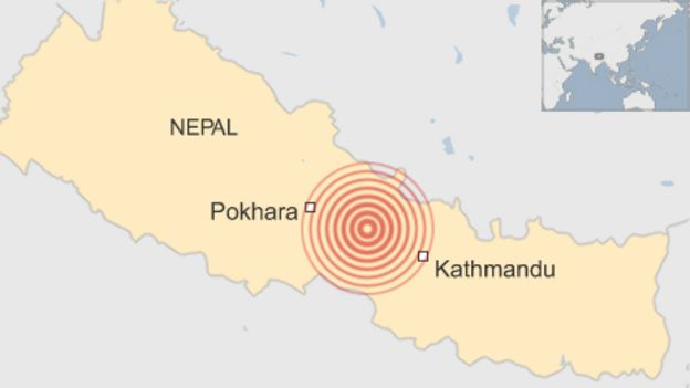 A map showing the location of an earthquake striking Nepal