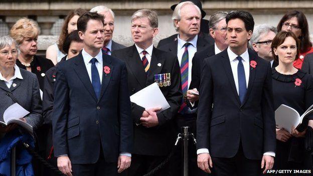 Leader di partito politico Nick Clegg e Ed Miliband