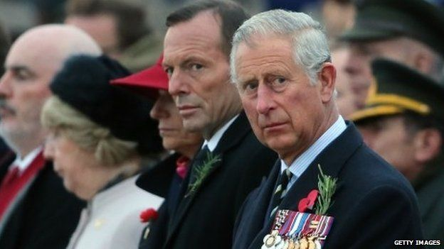 Il primo ministro australiano Tony Abbott e il principe Carlo