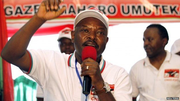 "Burundi""s President Pierre Nkurunziza addresses delegates of the ruling Conseil National pour la Defense de la Democratie - Forces pour Defense de la Democratie (CNDD-FDD) party during their congress in the capital Bujumbura, April 25, 2015"
