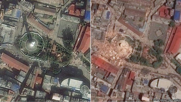 Dharahara tower via satellite before and after the quake