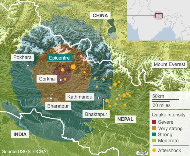 Map of Nepal showing areas affected by earthquake