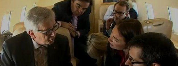 Journalists with Jean-Claude Juncker
